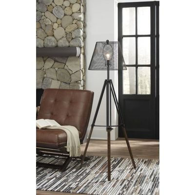 Leolyn Metal Floor Lamp in Black & Brown - L207991