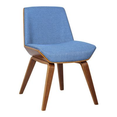 Agi Side Chair in Blue Fabric with Walnut Finish - LCAGSIBLUE