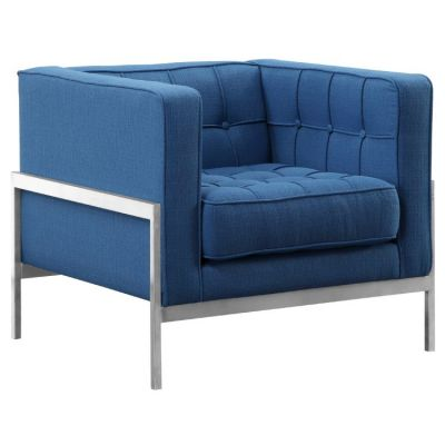 Andre Sofa Chair in Brushed Steel and Blue Fabric - LCAN1BLUE