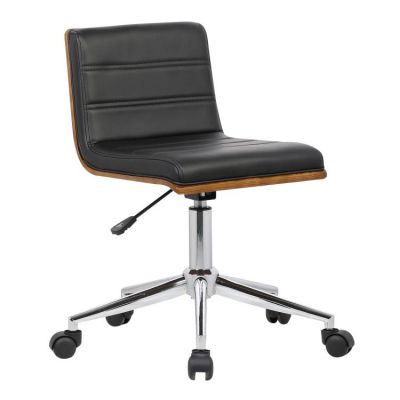 Bowie Office Chair in Chrome finish with Black Leather - LCBOOFCHBLACK