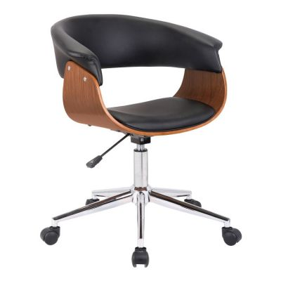 Bellevue Office Chair in Chrome Finish with Black Leather - LCBVOFCHWABL