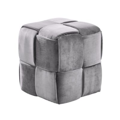 Joy Short Ottoman in Gray Velvet - LCJYOTGRAY