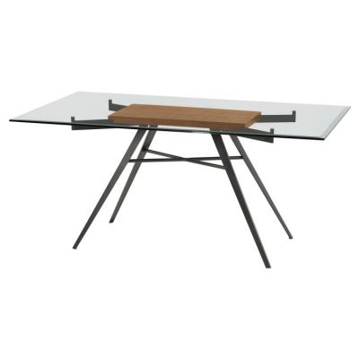 Leah Rectangular Dining Table in Mineral with Clear Top - LCLEDIMFWABS