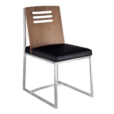 Oxford Dining Chair in Brushed Steel Vintage Black - LCOXSIVBBS