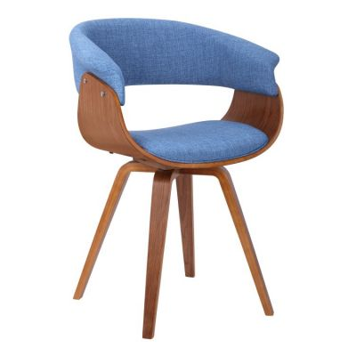 Summer Chair in Blue Fabric with Walnut Finish - LCSUCHBLUE
