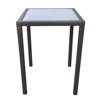 Tropez Outdoor Patio Wicker Bar Table with Black Glass Top - LCTRBTBE