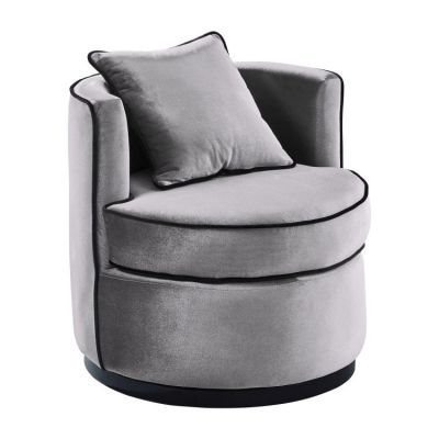 Truly Swivel Chair in Grey & Black Velvet - LCTYCHGR