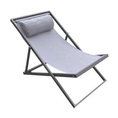 Wave Outdoor Patio Aluminum Deck Chair in Grey Finish - LCWALOGR