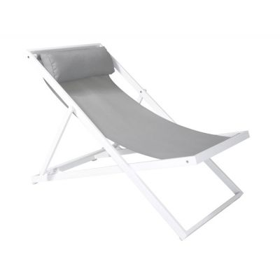 Wave Outdoor Patio Aluminum Deck Chair in White Finish - LCWALOWH