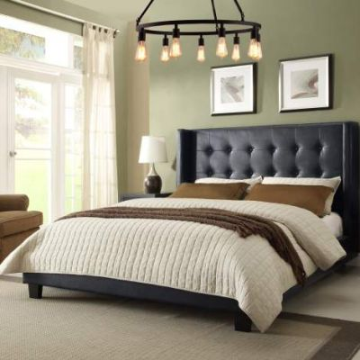 Madison Tufted Queen Bed w/Tapered Wings, Black Leatherette - MADISONNBLQUBED