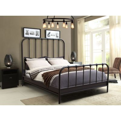 Mateo Rust Brown Pwdr Coat Metal California King Bed - MATEORBCKBED