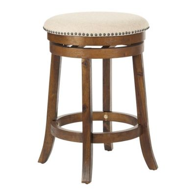 Backless Swivel Stool in Burnt Brown Finish - MET17824-BB
