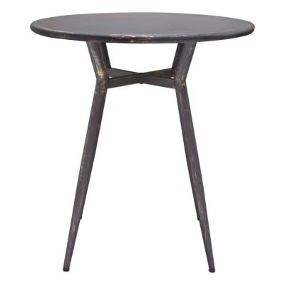Motif 28'' Round Metal Bistro Table in Antique Black Finish - MOTIFDTBL