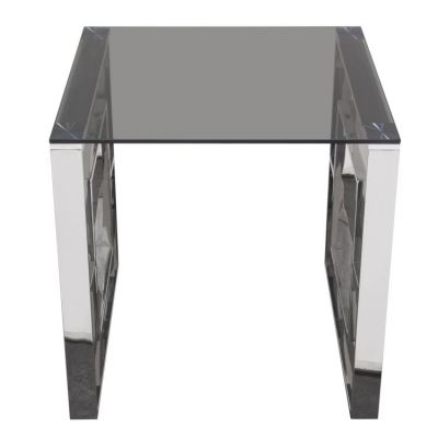 Muse Square End Table with Smoked Tempered Glass Top - MUSEETSS