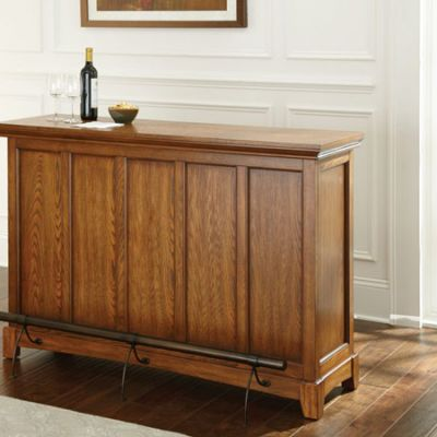 Martinez Oak Counter Bar with Foot Rail - MZ560BK