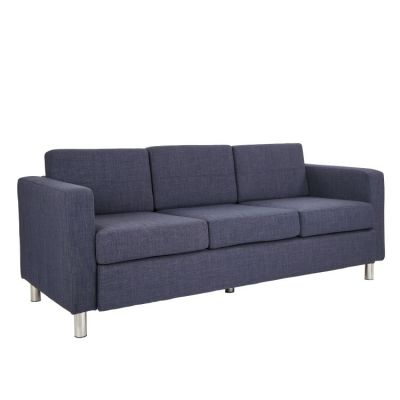 Pacific Sofa in Navy Fabric with Chrome Legs - PAC53-M19