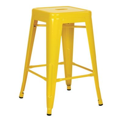 24'' Steel Backless Barstool In Yellow (Set of 4) - PTR3024A4-10