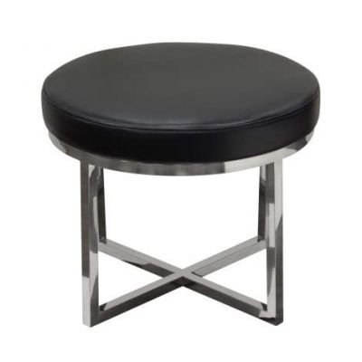 Ritz Round Accent Stool, Black Bonded Leather - RITZSTBL