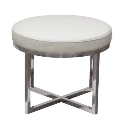 Ritz Round Accent Stool w/Padded Seat, White Bonded Leather - RITZSTWH