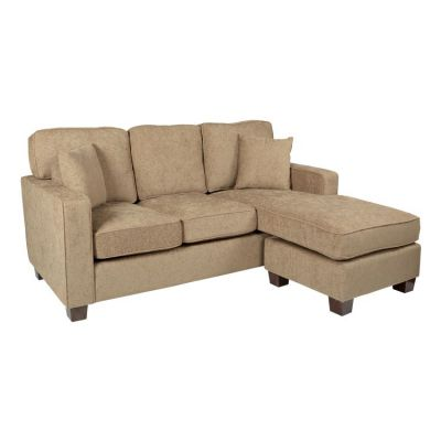 Russell Sectional in Taupe fabric with 2 Pillow & Coffee Leg - RSL55-SK335