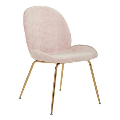 Selena Chair in Blush Fabric with Gold Plated Leg - SEL-V3