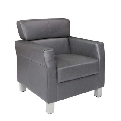 Leather Club Chair in Pewter Bonded Leather - SL4001-BD26