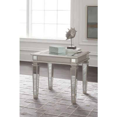 Tessani Rectangular End Table in Silver - T099-3