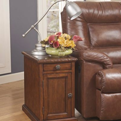 Laflorn Chair Side End Table in Dark Casual Finish - T127-553