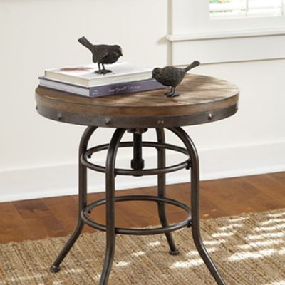Vennilux Round End Table in Brown - T500-726
