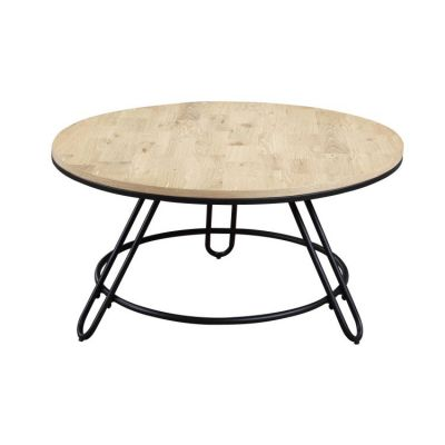 Penbrook Round Cocktail Table in Natural-Black metal base - T688-00