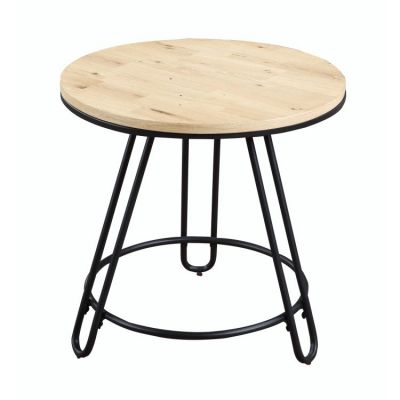 Penbrook Round End Table in Natural-Black metal base - T688-01