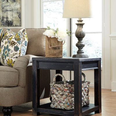 Gavelston Square End Table in Black Finish - T732-2