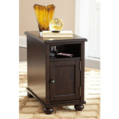 Barilanni Chair Side End Table in Dark Brown - T934-7