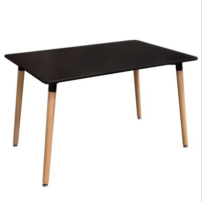 Tango Rectangular Dining Table w/ Black Top & Beech Legs - TANGODCBL