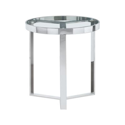 Trinity Round End Table with Clear Tempered Glass Top - TRINITYETSL