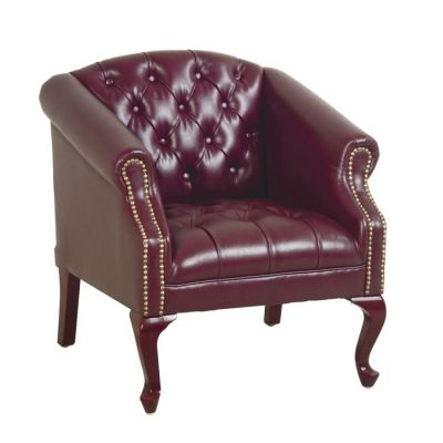 Queen Ann Traditional Ox Blood Chair in Mahogany - TSX1121-JT4