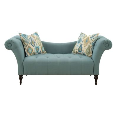 Lucille Settee with 2 Accent Pillows in Blue - U3803-55-04