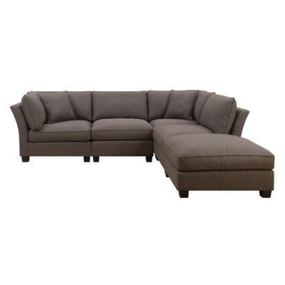 Arlington 5 Piece Sect with 2 Pillows in Dark Brown - U4172-14-15-22-05-K