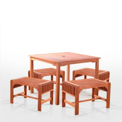 Malibu Wood 5-piece Outdoor Dining Set - V1104SET16