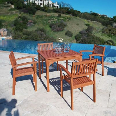 Malibu Wood 5-piece Outdoor Dining Set - V1104SET1