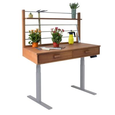 Sit to Stand Potting Bench with Natural Wood & Grey Frame - V1707