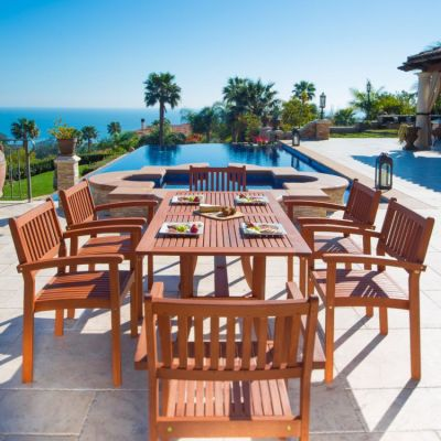 Malibu Wood 7-piece Outdoor Dining Set - V187SET4