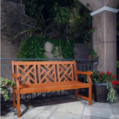Malibu Outdoor Eucalyptus Wood 5-foot Bench - V188