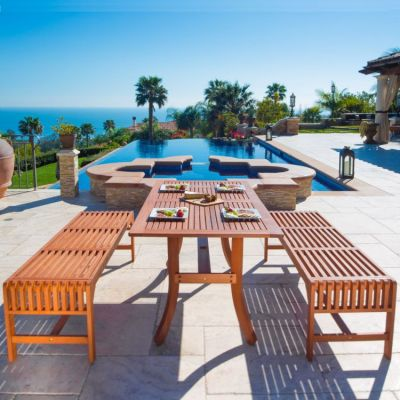 Malibu Wood 3-piece Outdoor Backless Dining Set - V189SET13