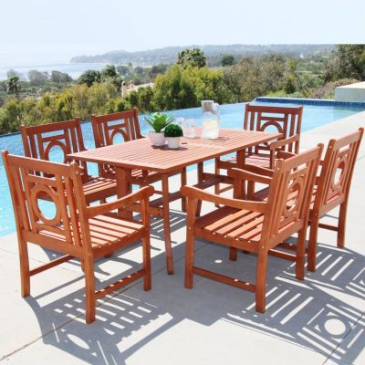 Malibu Wood 7-piece Outdoor Dining Set - V189SET15