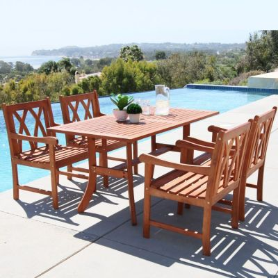 Malibu Wood 5-piece Outdoor Dining Set - V189SET18