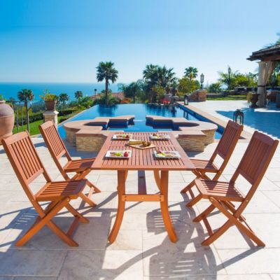 Malibu Wood 5-piece Outdoor Dining Set - V189SET3