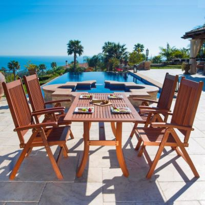 Malibu Wood 5-piece Outdoor Dining Set - V189SET4