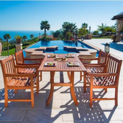 Malibu Wood 5-piece Outdoor Dining Set - V189SET5