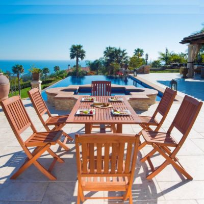 Malibu Wood 7-piece Outdoor Dining Set - V189SET7